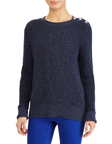 Lauren Ralph Lauren Marled Cotton Sweater-BLUE-Small
