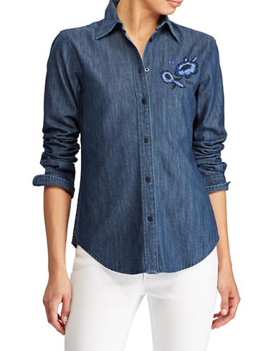 Lauren Ralph Lauren Petite Floral Embroidered Denim Button-Down Shirt-BLUE-Petite Medium