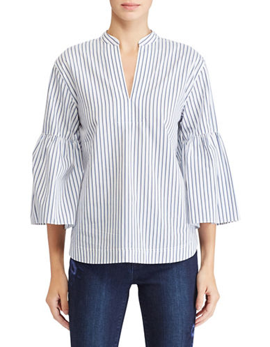 Lauren Ralph Lauren Petite Striped Cotton Bell-Sleeve Blouse-BLUE/WHITE-Petite Small