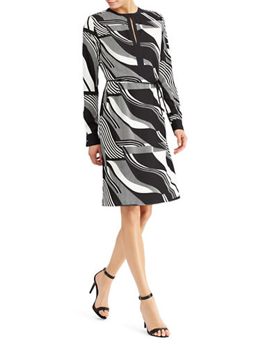 Lauren Ralph Lauren Petite Printed Crepe Knee-Length Dress-ASSORTED-Petite 14