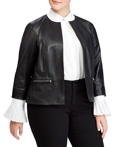 Lauren Ralph Lauren Plus Collarless Leather Jacket-BLACK-16W