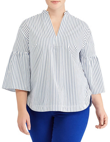 Lauren Ralph Lauren Plus Striped Bell-Sleeve Blouse-BLUE-3X