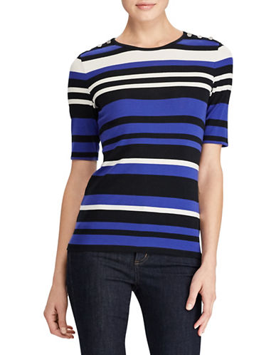 Lauren Ralph Lauren Petite Striped Stretch Knit Top-ASSORTED-Petite X-Small