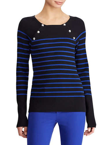 Lauren Ralph Lauren Petite Striped Crew Neck Sweater-POLO BLACK-Petite X-Small