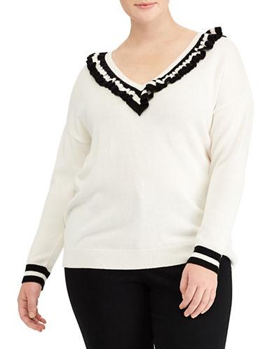 Lauren Ralph Lauren Plus Ruffled V-Neck Sweater-WHITE-1X