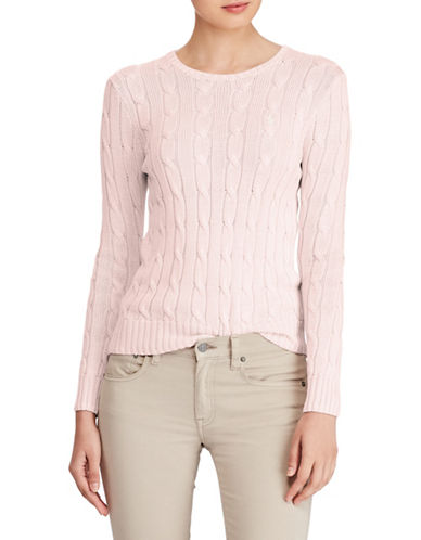 Polo Ralph Lauren Cable-Knit Cotton Sweater-PINK-X-Small