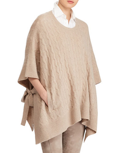Polo Ralph Lauren Cable-Knit Wool and Cashmere Poncho-BROWN-Small