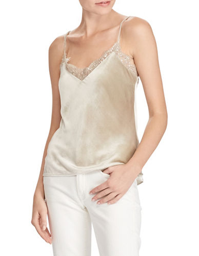 Polo Ralph Lauren Silk-Blend Velvet Camisole-GREY-12