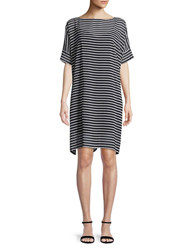 Lauren Ralph Lauren Chiffon Stripe Dress-NAVY-18