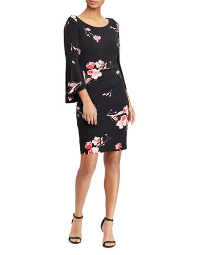Lauren Ralph Lauren Floral Bell-Sleeve Dress-BLACK/PINK-0