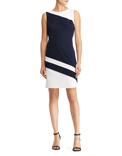 Lauren Ralph Lauren Two-Tone Dress-NAVY/WHITE-4