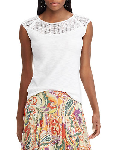 Chaps Lace-Sleeve Cotton Top-WHITE-Large 90066326_WHITE_Large