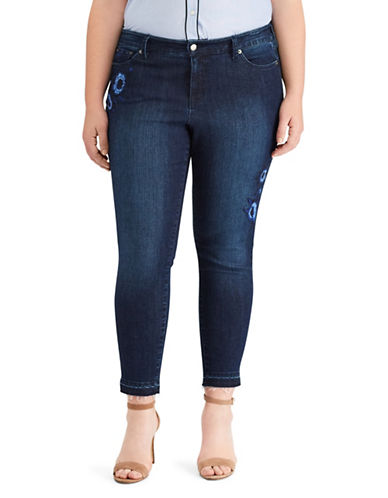 Lauren Ralph Lauren Plus High-Rise Skinny Floral Crop Jeans-BLUE-22W