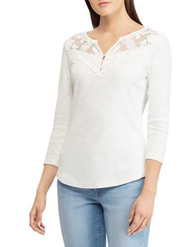 Chaps Lace-Yoke Cotton Top-WHITE-X-Large 89960152_WHITE_X-Large