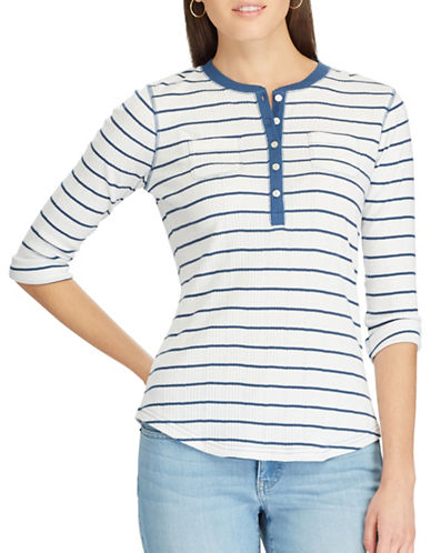 Chaps Striped Henley Shirt-WHITE-Medium
