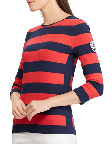 Chaps Striped Jersey Top-RED-Medium