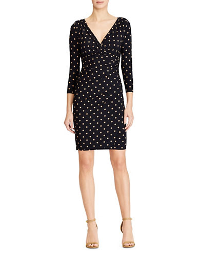 Lauren Ralph Lauren Polka Dots Jersey Sheath Dress-BLUE-16
