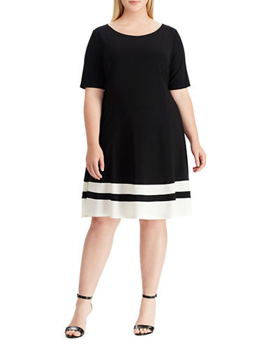 Chaps Plus Two-Tone Jersey Dress-BLACK-22W