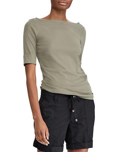 Lauren Ralph Lauren Elbow-Sleeve Tee-GREEN-X-Large 90089335_GREEN_X-Large