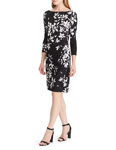 Chaps Floral Jersey Sheath Dress-BLACK MULTI-Large