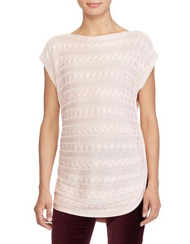 Lauren Ralph Lauren Harrie Short Sleeve Sweater-PINK-X-Large