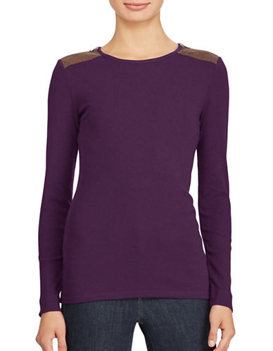 Lauren Ralph Lauren Zip-Shoulder Crew Neck Top-PURPLE-Medium