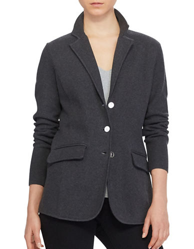 Lauren Ralph Lauren Three-Button Sweater Jacket-GREY-Small