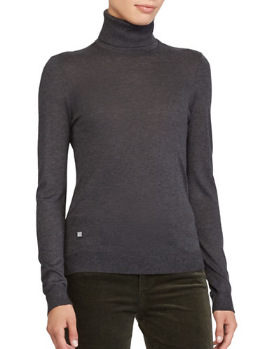 Lauren Ralph Lauren Stretch Turtleneck Top-GREY-Medium