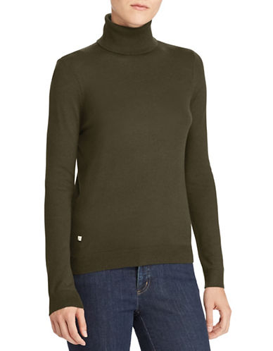 Lauren Ralph Lauren Stretch Turtleneck Top-GREEN-X-Large