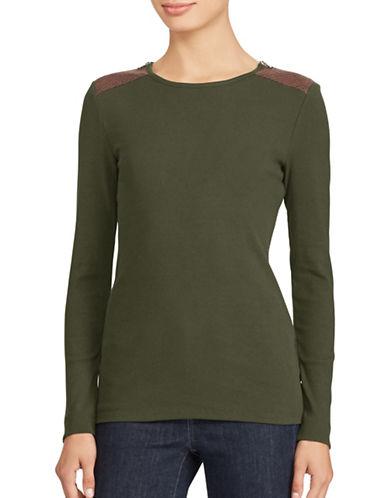 Lauren Ralph Lauren Katy Long Sleeve Knit Top-GREEN-X-Large