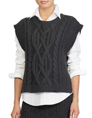 Lauren Ralph Lauren Aran-Knit Wool-Blend Sleeveless Sweater-GREY-X-Small