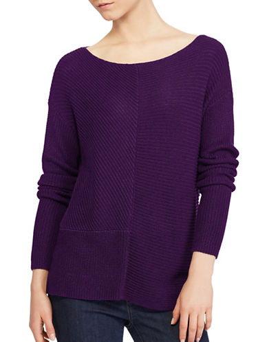 Lauren Ralph Lauren Ribbed Knit Pullover-PURPLE-Small