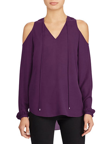 Lauren Ralph Lauren Georgette Cold Shoulder Top-PURPLE-X-Large