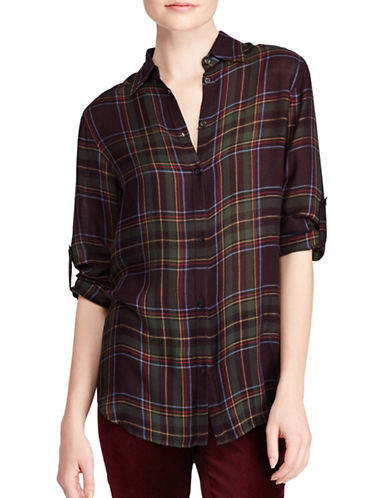 Lauren Ralph Lauren Plaid Button-Down Shirt-PURPLE-X-Small