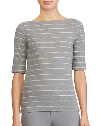 Lauren Ralph Lauren Striped Boat Neck Top-GREY-Large