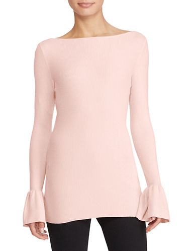 Lauren Ralph Lauren Ruffled Stretch Sweater-PINK-Medium