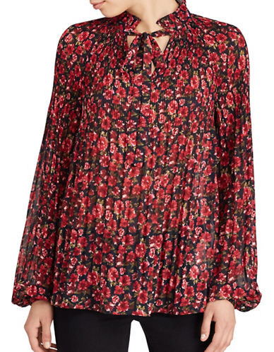 Lauren Ralph Lauren Floral-Print Pleated Top-BLUE MULTI-Small