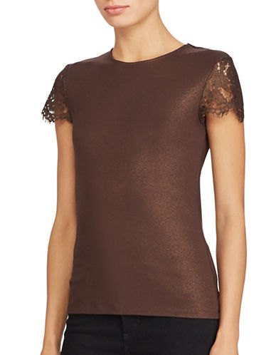 Lauren Ralph Lauren Lace-Sleeve Tee-GOLD-X-Large