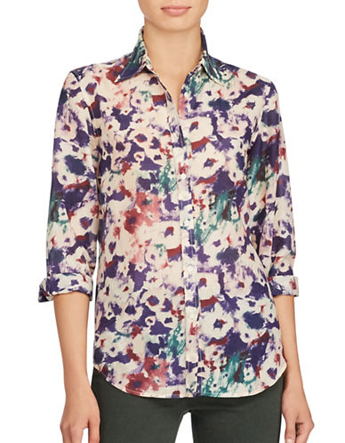 Lauren Ralph Lauren Voile Silk-Blend Button-Down Shirt-ASSORTED-Large