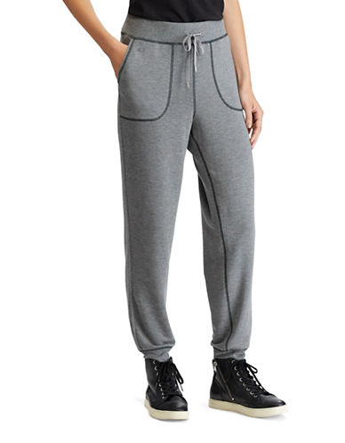 Lauren Ralph Lauren Stretch Drawcord Jogger Pants-GREY-Large