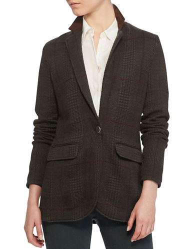 Lauren Ralph Lauren Merino-Blend Knit Blazer-GREEN-Large