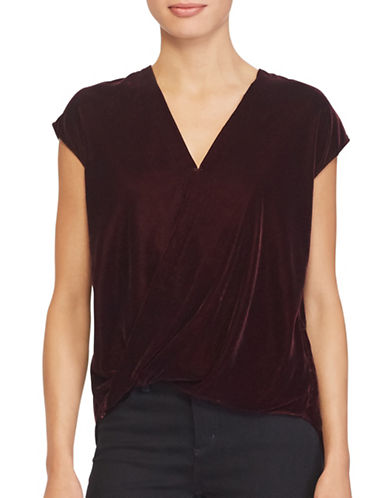 Lauren Ralph Lauren Velvet Surplice Top-RED-Medium