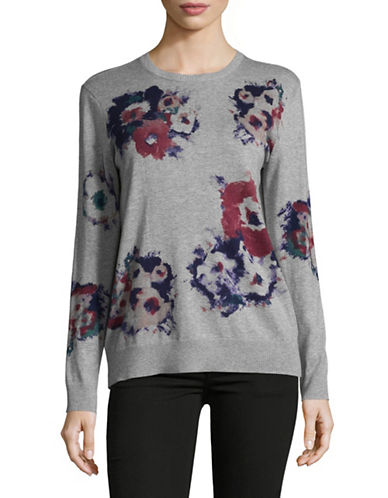 Lauren Ralph Lauren Mellery Floral Knit Sweater-GREY-Large