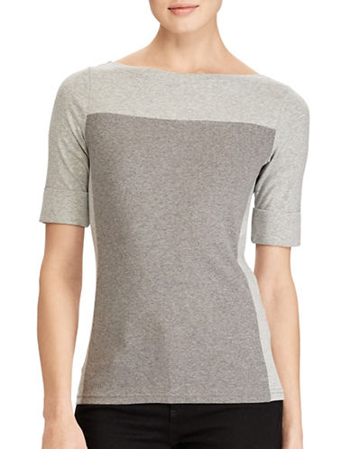 Lauren Ralph Lauren Colourblocked Top-GREY-Small