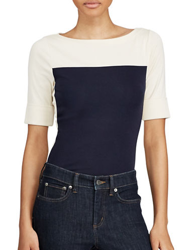 Lauren Ralph Lauren Colourblock Cotton Tee-NAVY/WHITE-X-Small