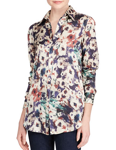 Lauren Ralph Lauren Petite Floral-Print Button-Down Shirt-MULTI-Petite Small