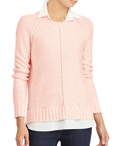 Lauren Ralph Lauren Petite Layered Sweater-PINK-Petite X-Small