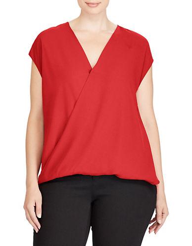 Lauren Ralph Lauren Plus Georgette Surplice Top-RED-3X