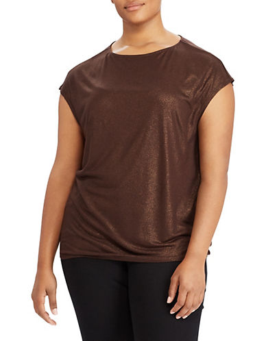 Lauren Ralph Lauren Plus Metallic Jersey Tee-COPPER-1X