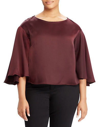 Lauren Ralph Lauren Plus Satin Flutter-Sleeve Top-RED-1X
